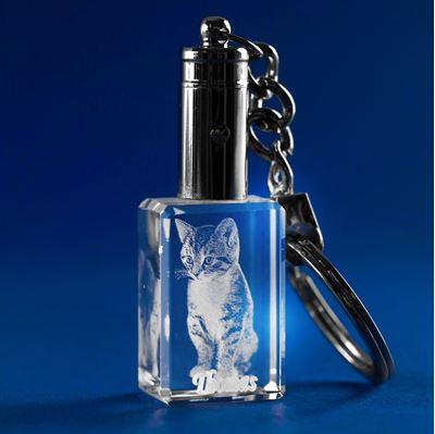 Key Chain 3D Photo Crystal Gift for Pet Lovers