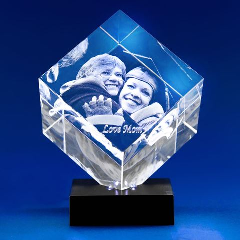 Diamond 3D Photo Crystal Gift for Graduation (on light base)
