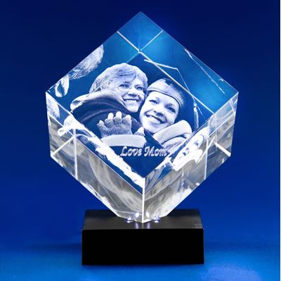 Diamond 3D Photo Crystal Gift for Graduation (on light base)