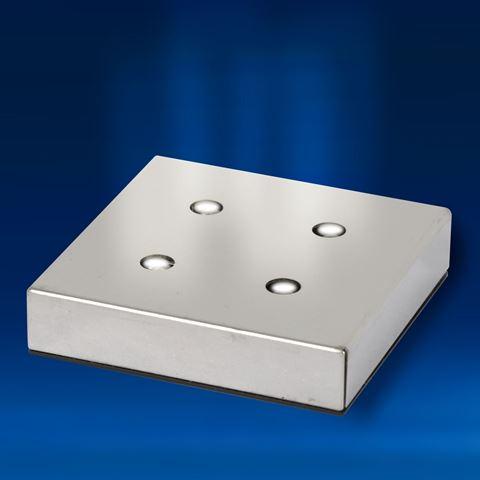 Square Aluminium 4 White LEDs Light Base